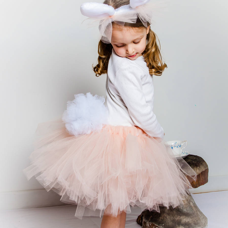 Peach-And-White-Tulu-Dress-With-Bunny-Headband-For-Easter