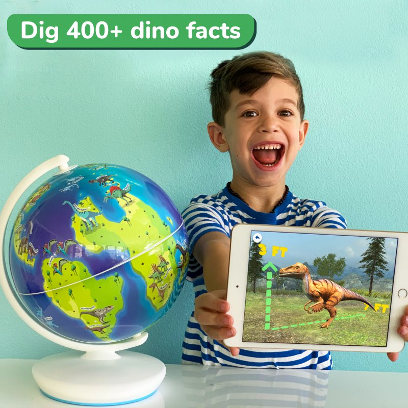 kid excited about dinosaurs on iPad screen